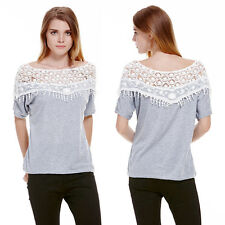 Sexy Lace Batwing Short Sleeve Loose Top Fashion Women Casual T-Shirt Blouse New