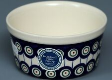 BOLESLAWIEC Polish Pottery PEACOCK FEATHERS Small Bowl #2