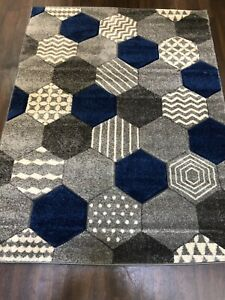 X Rug Approx 6x4ft 120x160CM Carved Rugs Top Quality Grey-Navy Blue Design Rug