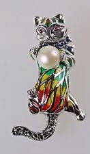 CAT BROOCH PLIQUE A JOUR SOLID SILVER 925 VINTAGE PEARL BALL AND RUBY EYES