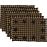 Black STAR Check Placemats Set 6 COUNTRY PRIMITIVE RUSTIC Place Mats Black Tan