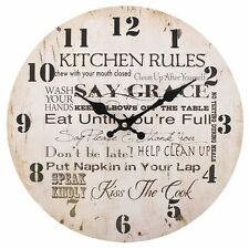 Vintage Shabby Chic Large Style Kitchen Rules Wall Clock Kitchen Clock Cream