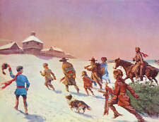 vintage art old western Fort Christmas Settlers dragging tree