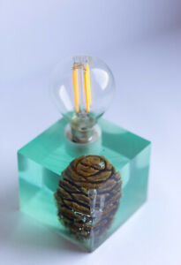 Gentle blue Epoxy resin lamp with big cypress cone