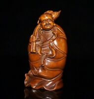 Collect china Feng shui Old Boxwood carved Lotus boy Netsuke Statue figurines