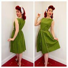 Vtg 1940's Green Cotton Floral House Dress w/ Belt Nip Waist Pin-Up Girl Era WW2