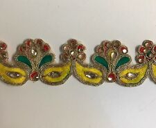 ATTRACTIVE INDIAN YELLOW & GREEN FABRIC & CRYSTAL EMBROIDERY  TRIM/LACE-One MTR