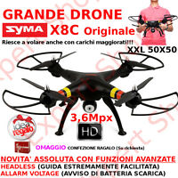 Drone SYMA X8C 50x50 XXL CAMERA FOTO 3,6Mpx VIDEO HD pronto al volo 2 batterie