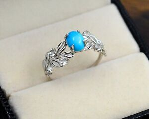 6X8MM Oval Natural Turquoise Gemstone 925 Sterling Silver Wedding Ring For Women