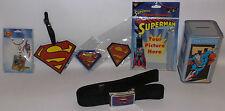 DC COMICS : SUPERMAN : KEY RING, MAGNETS,PATCH, ADDRESS TAG, BELT,MONEY BOX (TK)