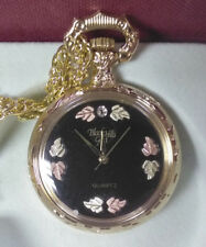 $169.00 Black Hills Gold Ladies Chain Nurses Pocket Watch  **BLACK FACE**