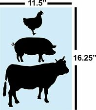 Cow Pig Rooster STENCIL for painting signs * Reusable, 14 Mil, Clear