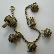 Pot~Whistle~Phone Silver Charm Bracelet Vintage Gold Gilt Sterling Tea