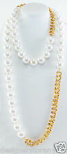 """Kenneth Jay Lane 60"""" Gold Link with white pearl necklace 8427NGWP"""
