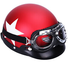 Casque Helmet ROUGE éTOILE + Visière Amovible Goggle Protection pr Moto Scooter