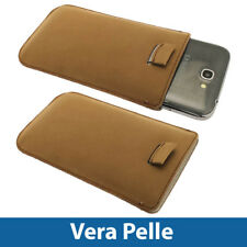 Marrone Custodia Pouch Vera Pelle per Samsung Galaxy Note 2 II N7100 Case Cover