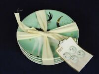 New Pier 1 Set of 4 Appetizer Dessert Plates Mint Green Christmas Reindeer Gold