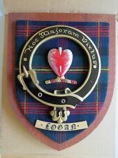 "NEW Scottish Clan LOGAN Tartan Plaque Crest Shield LARGE 12"" NOS"
