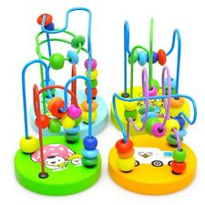 Baby Child Colorful Wooden Toys Mini Around Beads Wire Maze Educational Game US