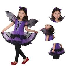 Kid Girls Princess Bat Fancy Fairy Cosplay Costume Outfit Party Dress up Clothes