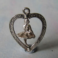 VINTAGE SILVER TURNING BALLET DANCER IN HEART SHAPED PENDANT / FOB CHARM