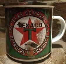 Texaco Oil Can Vintage Retro Distressed, 12oz Enamel Mug Garage Mechanic camping