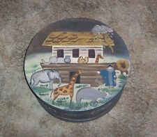 AWESOME VINTAGE  PRIMITIVE ROUND WOOD NOAH'S ARK HANDPAINTED CHEESE BOX W/LID