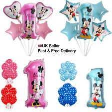 Disney Mickey Minnie Mouse 1st First One Birthday Foil Latex Balloons Baby Party