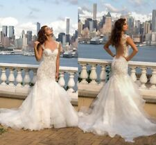 New One Shoulder Wedding Dresses Trumpet Bridal Dresses Beaded Lace Bridal Gown