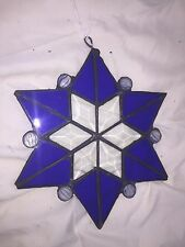 Stained Glass Piece - Pretty Vivid Blue Star/Snowflake Design - Nice Sun Catcher