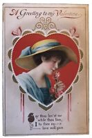 Clapsaddle~Pretty Lady in Heart with Rose~Antique Emboss Valentine Postcard-b564