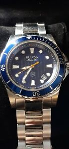 Mint BULOVA 98B130 MARINE STAR BLUE FACE 44MM MEN'S Diver's WATCH SILVER 200mts
