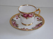 ROYAL CHELSEA Bone China Footed Cup and Saucer - Gold Floral Design