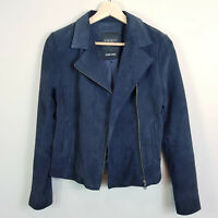 JEANSWEST | Womens Suede Leather Navy Zip up Jacket  [ Size AU 8 or US 4 ]