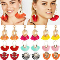 1 Pair Women Fashion Tassel Drop Long Dangle Thread Circle Hoop Earrings Jewelry