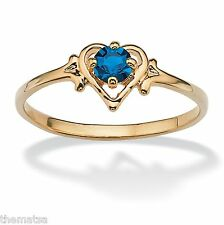 WOMENS 14K GOLD GP BIRTHSTONE SAPPHIRE HEART SHAPE RING SIZE  5 6 7 8 9 10