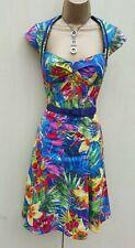 Karen Millen Blue Floral Tropical Print Galaxy Flare Summer Cocktail Dress 10 UK