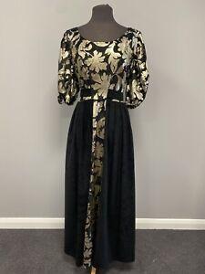Black & Gold Period dress Sz 18 - Regency Edwardian Costume Fancy Dress, Cosplay
