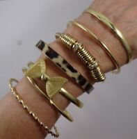 Set of 7 GOLD Tone Fashion Bracelets Crystal Bangle Stretch NEW