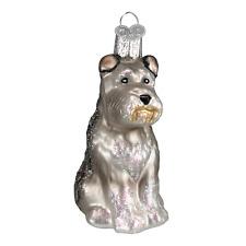 OLD WORLD CHRISTMAS GRAY SCHNAUZER DOG GLASS CHRISTMAS ORNAMENT 12264