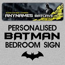 Personalised Metal Batman Bedroom Door Sign/Plaque Childrens ANY TEXT BATCAVE