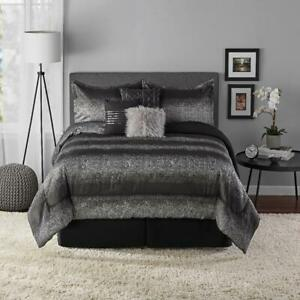 Mainstays Ombre Metallic Stripe Black/Silver 7-Piece Comforter Set, King