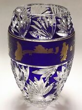 Val St. Lambert Cobalt Blue Cut to Clear Crystal Vase Signed L'ega 1978 80/950