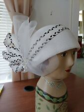 Vintage hat white with black and white checked band, pearls and white veil