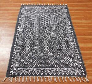 4x6 6x9 Indian Handmade Hand Block Printed Cotton Area Rug Boho Kilim Dhurrie
