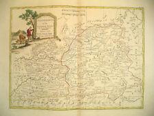 1776 Genuine Antique Hand Colored Map W Central Spain. Elegant Cartouche. Zatta