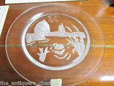 "Daum Nymphea Plate French Crystal 1981 Swan Lake Intaglio Art Glass 8 1/2""[am5]"