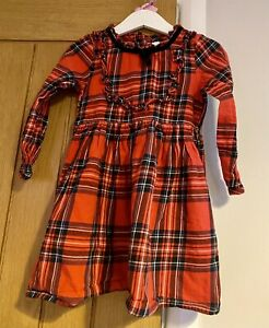Next Girls Beautiful Red Tartan Check Christmas Dress Age 3-4 Years 🎄🎅🏻
