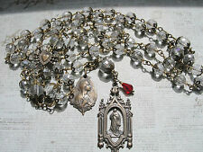 "Rosary ""Mary Magdalene""AB Czech Crystals Antique Bronze 28"" & Free Surprise Gift"