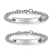 His and Hers Personalized Custom Engrave Stainless Steel Bracelets for couple